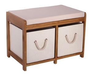 Banco de madera con 2 cestas - natural