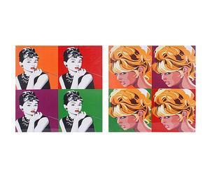 Set de 2 lienzos Impresión Hepburn&Bardot - multicolor