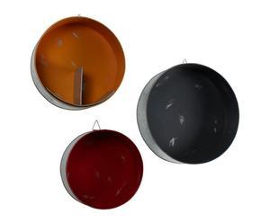 Set de 3 estanterías redondas de metal – gris, rojo y naranja