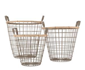 Juego de 3 cestas de metal