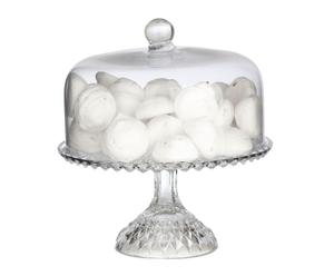 Pie de tarta con campana de cristal transparente