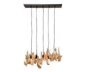 Lámpara de techo de madera y acero – natural