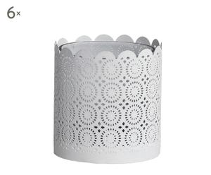Set de 6 porta velas de metal calado – blanco