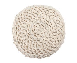 Cojín de crochet redondo – blanco roto
