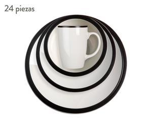 Vajilla de cerámica, Blanco y negro - 24 Piezas
