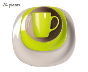 Vajilla de cerámica, Blanco y verde - 24 Piezas