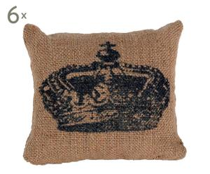 Set de 6 cojines de tela de saco estampados con corona – beige y negro