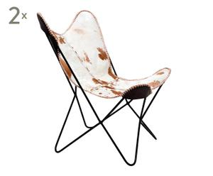 Set de 2 sillones de piel Butterfly - Blanco y Marrón