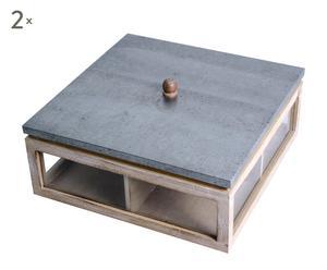 Set de 2 cajas de madera tropical – marrón