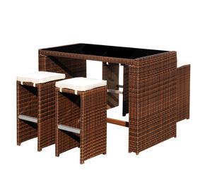 Set de mesa de bar y 4 taburetes CHEERS – marrón