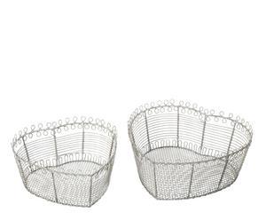 Set de 2 cestas de alambre – corazón