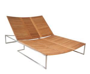 Tumbona de madera de teca y acero pulido – Natural