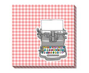 Lienzo Máquina de escribir – blanco y rosa