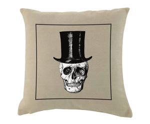 Cojín de algodón y lino Skull – Beige