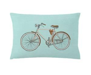 Cojín de algodón y lino Cycle – Azul