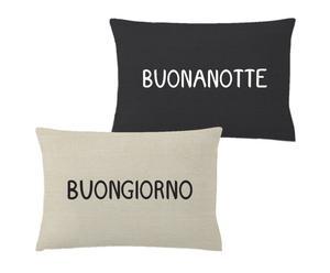 Cojín reversible Buon giorno – Buonanotte - Negro y beige
