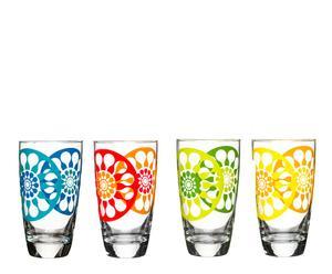 Juego de 4 vasos Flores