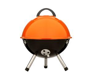 Barbacoa esférica, acero esmaltado - Naranja y negro