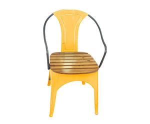 Butaca de metal y madera – amarilla