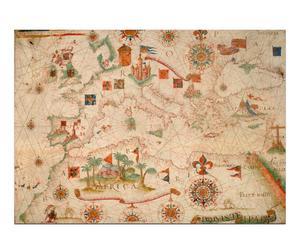 Lienzo Mapa náutico del Mediterráneo (1600)