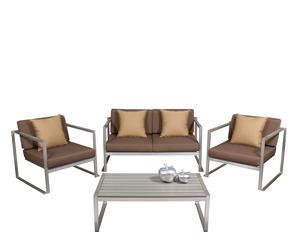 Set de 1 sofá, 2 sillones y 1 mesa de jardín - plata