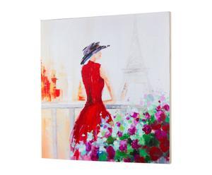 Cuadro óleo sobre lienzo mujer vestido – Rojo y Multicolor