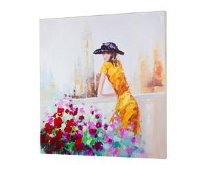 Cuadro óleo sobre lienzo mujer vestido – Amarillo y Multicolor