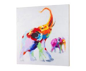 Cuadro óleo sobre lienzo elefante – Multicolor