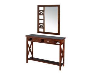Set de consola y espejo de madera de acacia – marrón