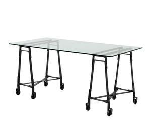 Mesa de despacho de cristal y metal – negro