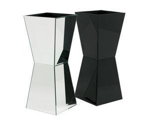 Set de 2 maceteros de espejo y cristal negro