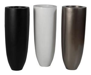 Set de 3 maceteros de fibra de vidrio – negro, blanco y gris