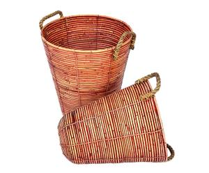 Set de 2 cestos cónicos de ratán con asas de yute – natural y rojo