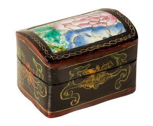 Cofre de madera con tapa de porcelana flores, rectangular – multicolor