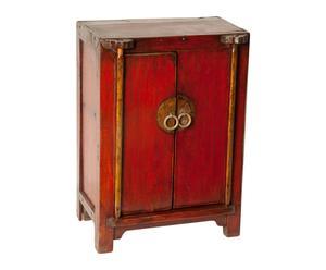 Armario joyero de madera de olmo - Rojo y dorado
