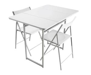 Set de mesa plegable y 2 sillas – blanco