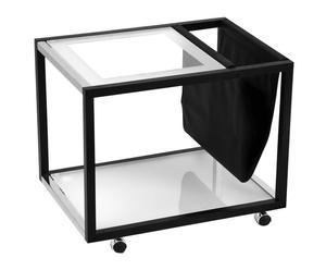 Mesa de centro con revistero – negro y transparente