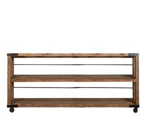 Estantería baja desmontable de madera - Marrón y negro