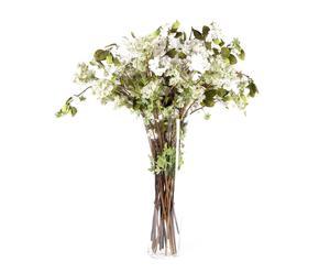 Jarrón de vidrio con 12 flores silvestres y 12 flores de almendro