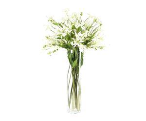 Jarrón de vidrio con 24 flores de azahar