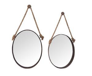 Set de 2 espejos colgantes, redondos – natural