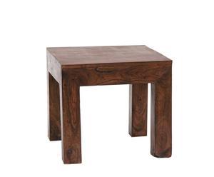 Mesita auxiliar de madera de acacia, cuadrada - Marrón oscuro