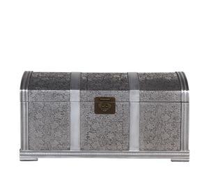 Baúl de madera de abeto y aluminio – gris y plata