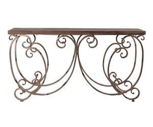 Consola de madera y metal – marrón