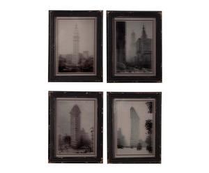Set de 4 cuadros con espejos de DM – negro