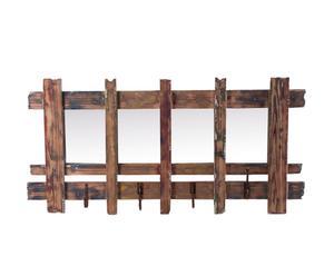 Perchero de madera de abeto con 4 colgadores - marrón decapado y espejo