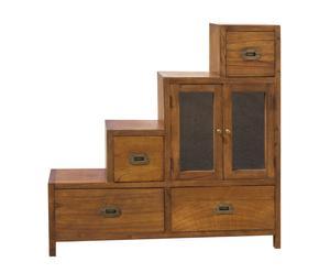 Mueble-escalera de madera con 2 puertas y 4 cajones – Marrón