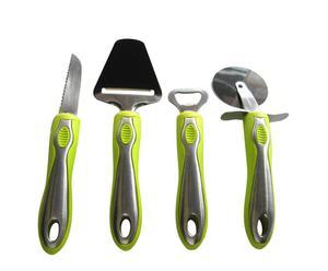 Set de 4 piezas de acero inoxidable y nylon Gourmet – verde pistacho
