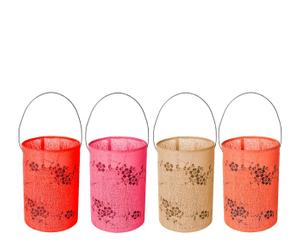 Set de 4 farolillos flores, lona - rojo, naranja, rosa, crema