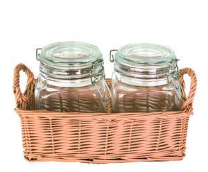 Set de 2 tarros herméticos y cesta de mimbre - naranja